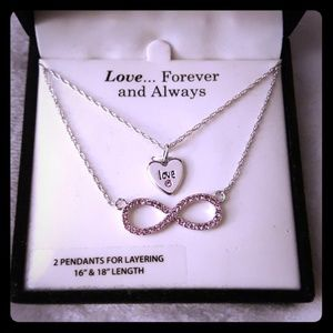 Love Heart Infinity Necklace Pink & Silver Tone